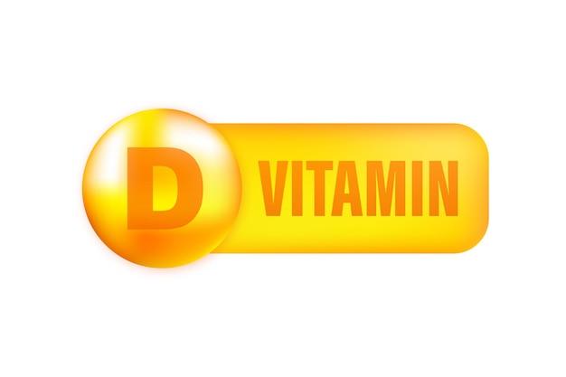 Vitamina d com queda realista em fundo cinza