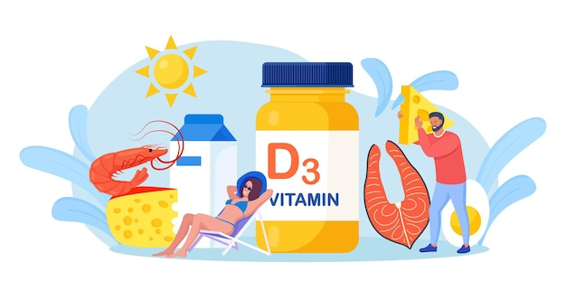 Vitamina d. pessoas minúsculas com peixe, garrafa de vitaminas, queijo, leite, camarão, ovos. mulher tomando banho de sol e usando suplementos alimentares para redução da deficiência. bem estar e saude