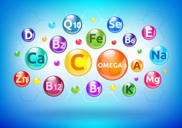 Vitamina e complexo mineral, bolhas coloridas, bolas com letras