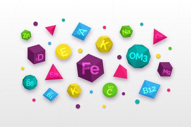 Vitamina essencial e complexo mineral várias formas geométricas