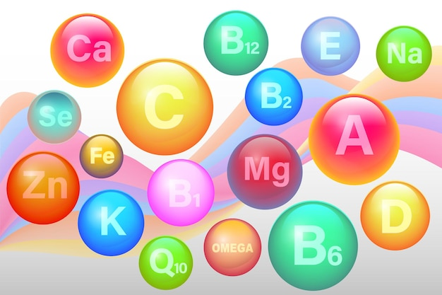 Vitamina essencial e multivitamínico complexo mineral