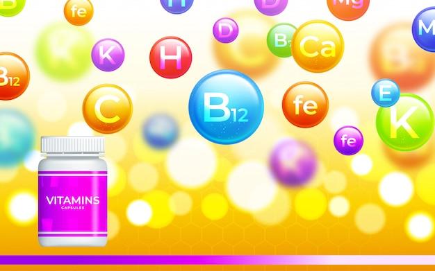 Vitamina médica, fundo mineral. complexo multivitamínico da cápsula do comprimido. ilustração