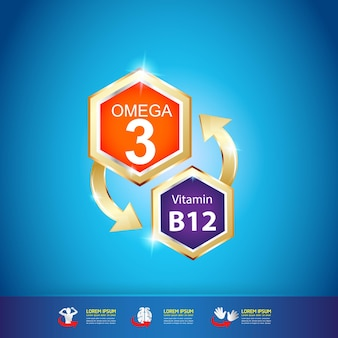 Vitamina omega para crianças e produto de vetor de logotipo de nutrição para crianças.