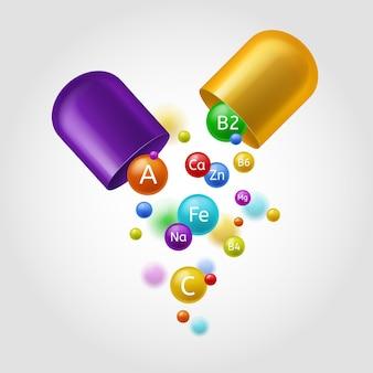 Vitaminas. cápsula aberta colorida com bolhas multivitamínicas e minerais a voar. vitamina a, b e zn, ácido ascórbico fe, complexo multivitamínico orgânico conceito de saúde farmacêutica