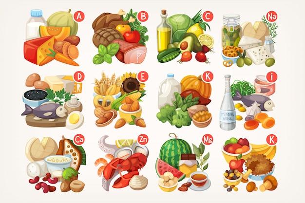Vitaminas e minerais em diferentes alimentos