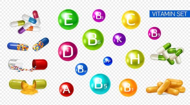 Vitaminas minerais que aumentam a energia 3d colorido realista conjunto com suplementos de extratos de frutas multivitaminas