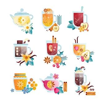 Vitaminas saudáveis bebidas em copos transparentes e ilustrações de bules em um fundo branco