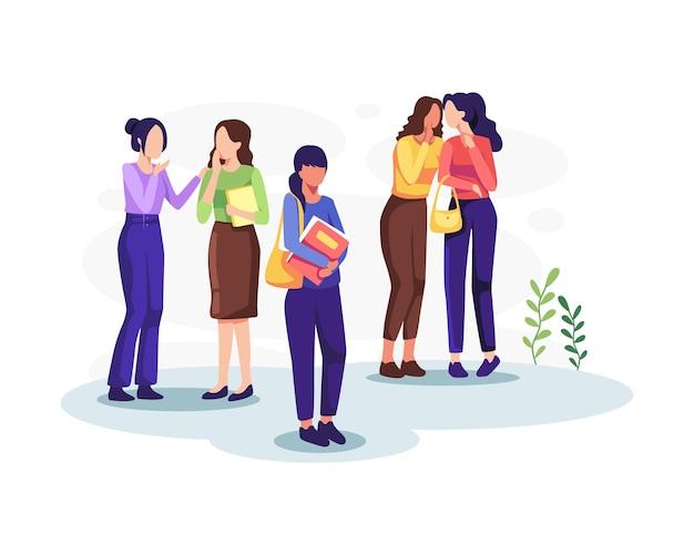Vítima de ilustração de bullying social. grupo de pessoas negativas oprime os fracos. vetor em um estilo simples