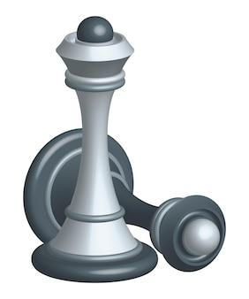 Vitória da rainha do xadrez branco sobre o preto. conceito com figuras para xadrez.