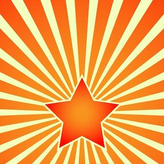 Vitória dia estrela vermelha em fundo de raios. vetor