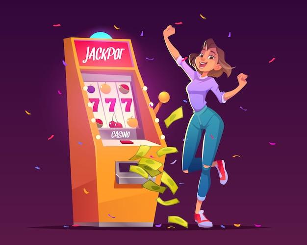 Vitória do casino do jackpot do slot machine, prêmio do dinheiro.