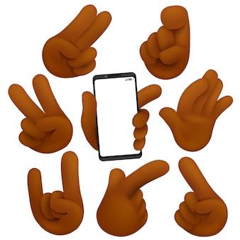 Vitória, sinal de hard rock e outra coleção de gestos. mãos de pele escura. estilo de desenho animado 3d.