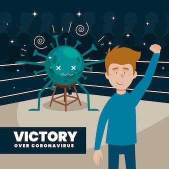 Vitória sobre ilustração de coronavírus