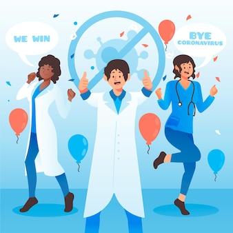Vitória sobre o conceito de coronavírus ilustrado
