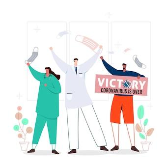 Vitória sobre o coronavírus com pessoas