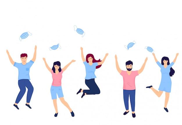 Vitória sobre o coronavírus. fim da quarentena. um grupo de jovens pula, diverte-se e vomita máscaras de proteção médica por cima.
