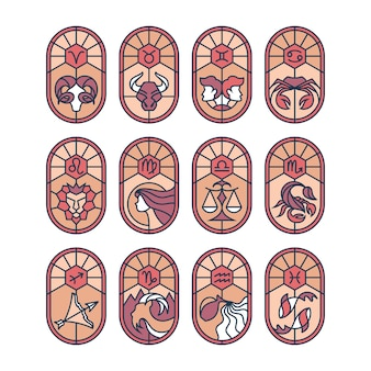 Vitral cravejado de signos astrológicos