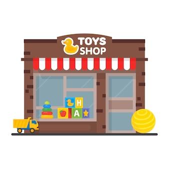 Vitrine da loja de brinquedos, edifício exterior, ilustração de brinquedos infantis.