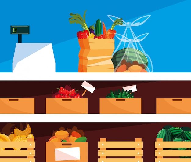 Vitrine de loja com alimentos frescos e máquina registradora