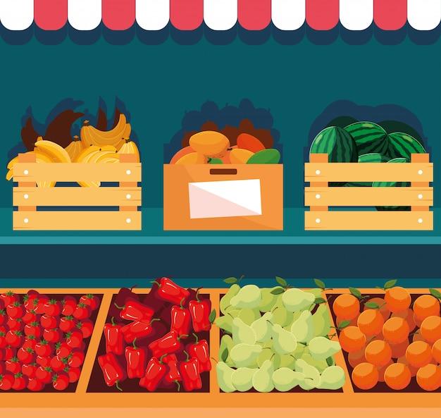 Vitrine de loja de madeira com frutas e legumes