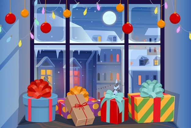 Vitrine de natal com presentes no parapeito da janela fachadas de casas no inverno à noite