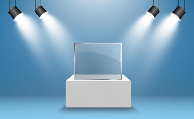 Vitrine de vidro para a exposição em forma de cubo. plano de fundo para venda iluminado por holofotes. boutique de design de negócios ou publicidade isolada de caixa de vidro do museu. hall de exibição.