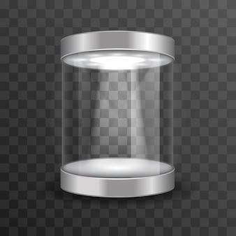 Vitrine de vidro vazio para exposição no museu em fundo transparente.
