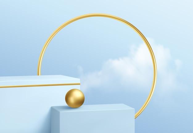 Vitrine do pódio do produto azul no fundo do céu claro com nuvens e decoração dourada. pódio