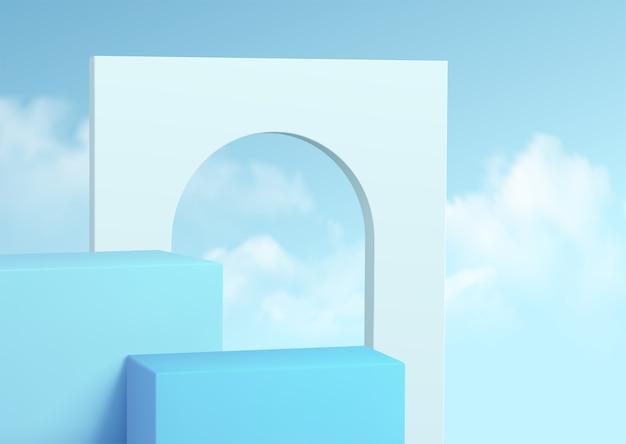 Vitrine do pódio do produto azul no fundo do céu claro com nuvens.