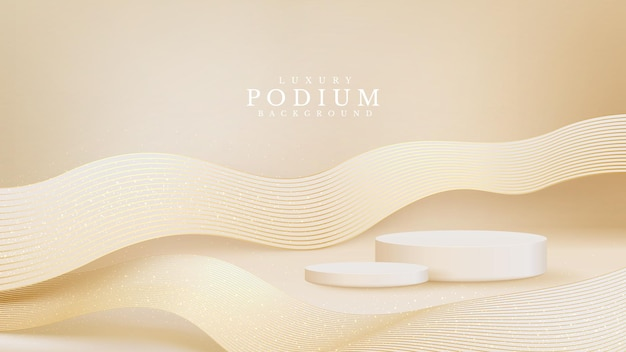 Vitrine do pódio realista do produto branco com linha dourada onda nas costas. conceito luxuoso do fundo do estilo 3d. ilustração vetorial para promoção de vendas e marketing.