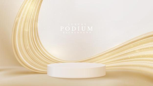 Vitrine realista do pódio do produto branco com líquido dourado nas costas. conceito luxuoso do fundo do estilo 3d. ilustração vetorial para promoção de vendas e marketing.