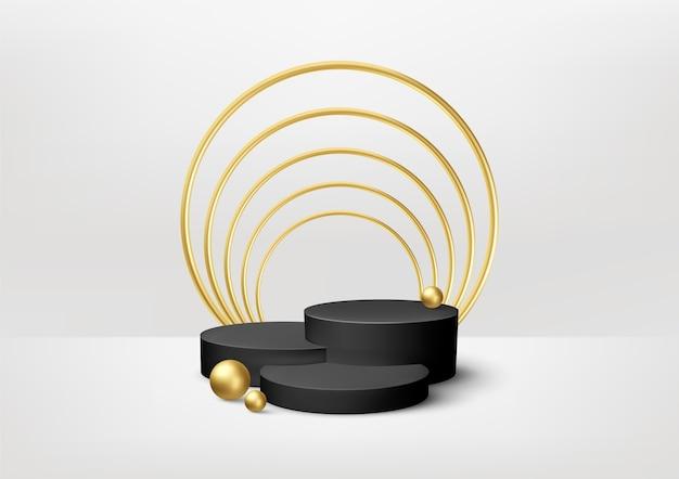 Vitrine realista do pódio do produto preto com elementos decorativos dourados sobre fundo branco.