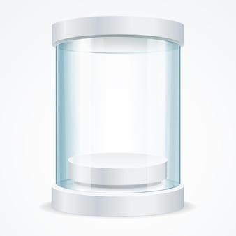 Vitrine redonda de vidro vazio para exposição com um pedestal. shop expo cylinder. ilustração vetorial