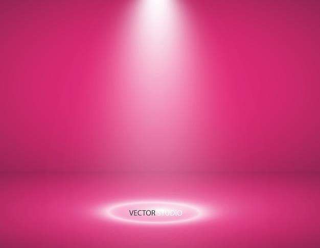 Vitrine vazia de produtos de cor rosa. fundo da sala do estúdio. usado como plano de fundo para exibir seu produto.