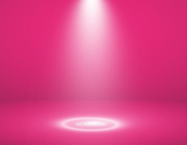 Vitrine vazia de produtos de cor rosa.