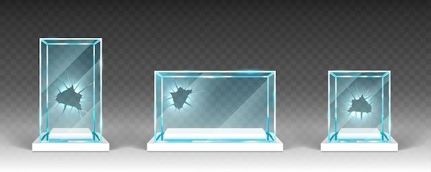 Vitrines de vidro quebrado com furos