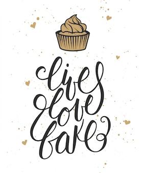 Viva, ame, assar com corações e cupcake cartão
