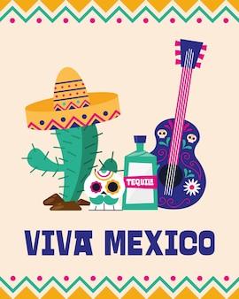 Viva mexico cactus skull tequila e design de guitarra, ilustração vetorial de tema cultural