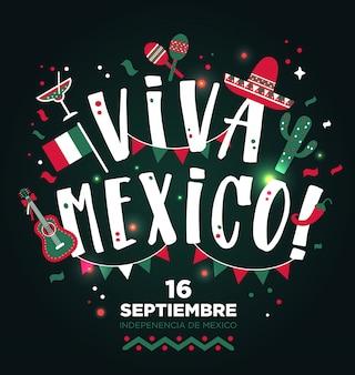 Viva mexico design do tipo mão desenhada