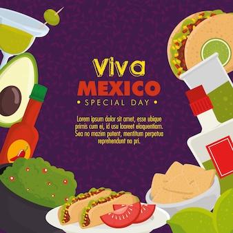 Viva méxico. dia do evento de celebração morto com comida