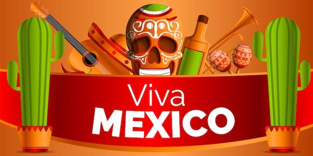 Viva méxico. estilo mexicano dos desenhos animados da música