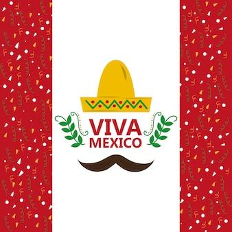 Viva mexico hat e bigote confetti decoração