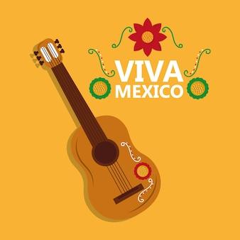 Viva mexico instrumento de guitarra música celebração de flores