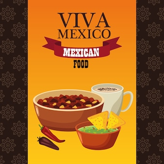Viva mexico lettering e comida mexicana com feijão frito e nachos.
