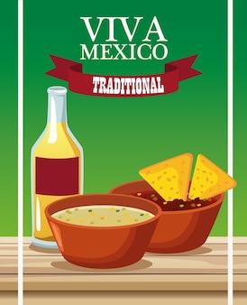 Viva mexico lettering e comida mexicana com nachos em molhos e tequila.