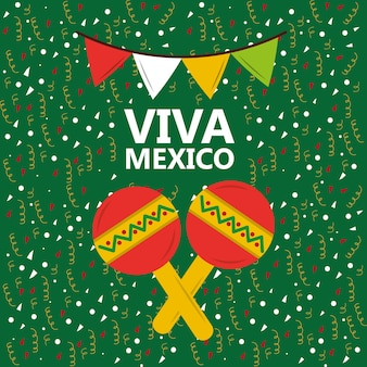 Viva mexico maracas música confetti pennant background verde