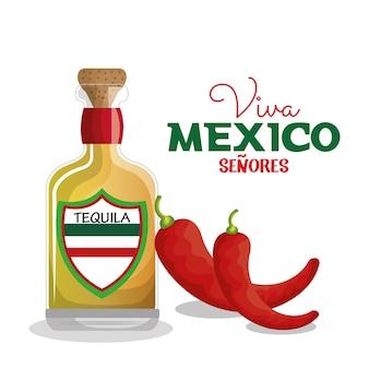 Viva mexico tequila e pimentão