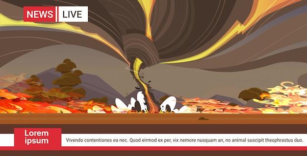 Viver brodcasting wildfire austrália arbusto incêndio desenvolvimento madeiras secas queimar árvores aquecimento global desastre natural quebrando notícias conceito intenso laranja chamas