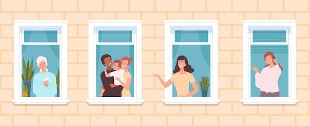 Vizinhança internacional. vizinhos multiculturais e gente bonita olham pelas janelas. mulher idosa família, garota falar telefone, conceito de vetor de ficar em casa. casa de bairro, ilustração de janelas vizinhas