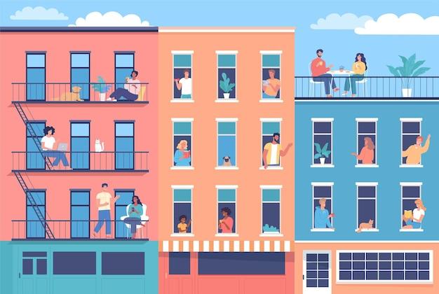 Vizinhos felizes se socializam e passam tempo na casa deles ilustração de ruas de edifícios coloridos